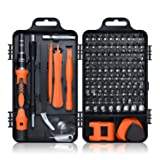 Screwdriver Set 115 in 1, ROADTEC Mini Precision Screwdriver Set with Case, Multi-function Magnetic Screwdriver Kit with Replaceable Bits for iPhone, Mac, Computer, Laptop, Watch, Glasses, Electronics (Color: Black Orange, Tamaño: Small)