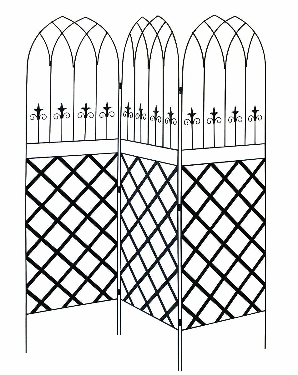 Panacea 89660 Gothic Garden Screen Trellis with Lattice, 72-Inch, Black