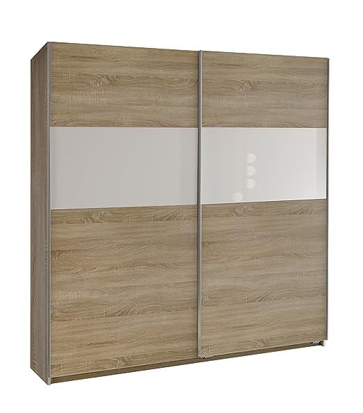 Wimex 134771 Schwebeturenschrank Arezzo 198 x 180 x 64 cm, Front und Korpus Eiche-sägerau-Nachbildung, Absetzungen Glas weiß