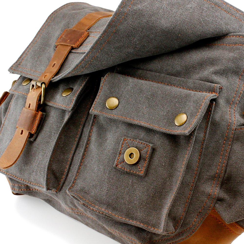 GEARONIC TM Men's Vintage Canvas and Leather Satchel School Military Shoulder Bag Messenger 3