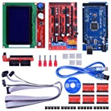Quimat 3D Printer Controller Kit for Arduino Mega 2560 Uno R3 Starter Kits + RAMPS 1.4 with Upgraded Mosfet + 5pcs A4988 Stepper Motor Driver + LCD 12864 for Arduino Reprap (Color: QK17)