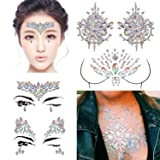 DaLin 4 Sets Rave Festival Rhinestone Face Body Jewelry Stick On Crystal Tattoo Nipple Crystal Body Gem Stones Bindi Stickers (Collection 1) (Color: Collection 1)