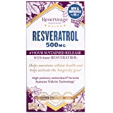 Reserveage - Resveratrol 500mg, Antioxidant Support for a Healthy Heart and Age Defying, Youthful Looking Skin with Organic Red Grapes and Quercetin, Gluten Free, Vegan, 60 Capsules (Color: Default, Tamaño: 60 Count)