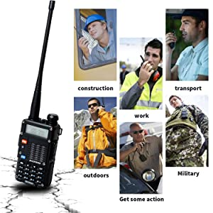 Baofeng UV-5R Radio 8Watt Ham Radio Dual Band Baofeng Walkie Talkie Baofeng BF-F8GP Two Way Radio UHF VHF Walkie Talkies with TID NA-771 Antenna 5 Pack (Color: Black)