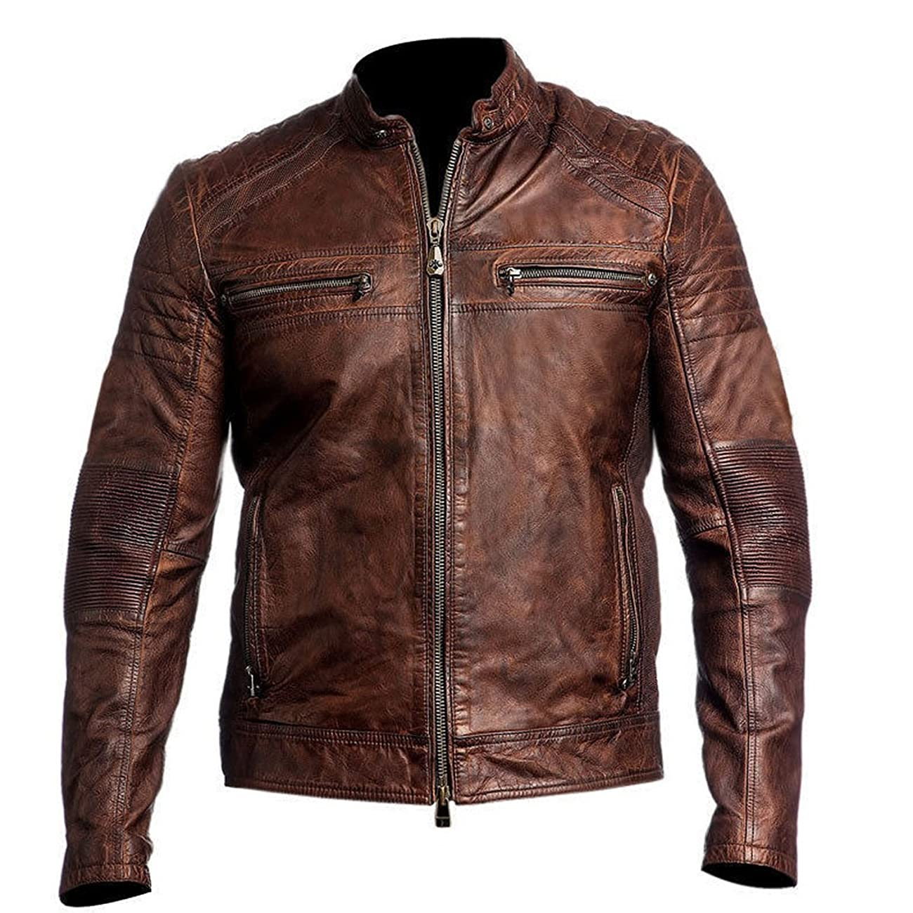 Men's Biker Vintage Motorcycle Distressed Brown Cafe Racer Leather Jacket 0