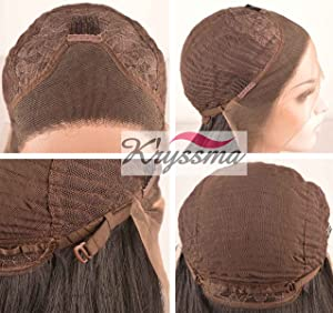 K'ryssma Half Hand Tied Cheap Lace Front Wigs Synthetic Hair for Black Women Brown with Highlights Long Straight Full Wigs Heat Resistant 24 Inches