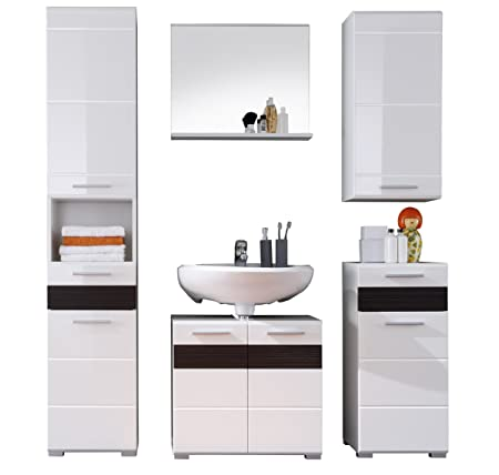 Furnline Mezzo High Gloss Bathroom Furniture Set, White