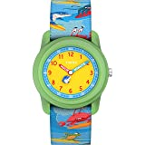 Timex Boys TW7C83600 Time Machines Analog 28mm Blue Sea Animals Elastic Fabric Strap Watch (Color: Blue Sea Animals)