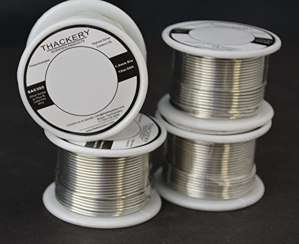 Thackery Silver Flux Core Solder Wire - SAC305 - available in 1mm and .8mm thickness - sold by the foot/meter (10m/30ft x 1mm Thickness) (Tamaño: 10m/30ft x 1mm Thickness)
