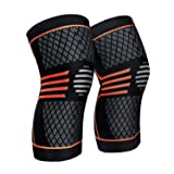 ZetHot Knee Compression Sleeve Support Brace(Pair) Knee Brace for Running, Jogging, Sports, Joint Pain Relief, Arthritis and Injury Recovery (L) (Color: red, Tamaño: Large)