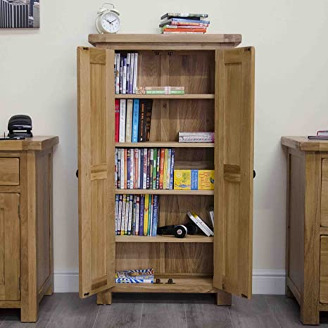 Original Rustic Solid Oak Furniture CD DVD Cabinet Cupboard