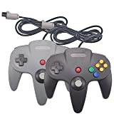 Joxde 2 Packs Upgraded Joystick Classic Wired Controllers for N64 Gamepad Console (Black and Gray) (Color: Black and Gray)