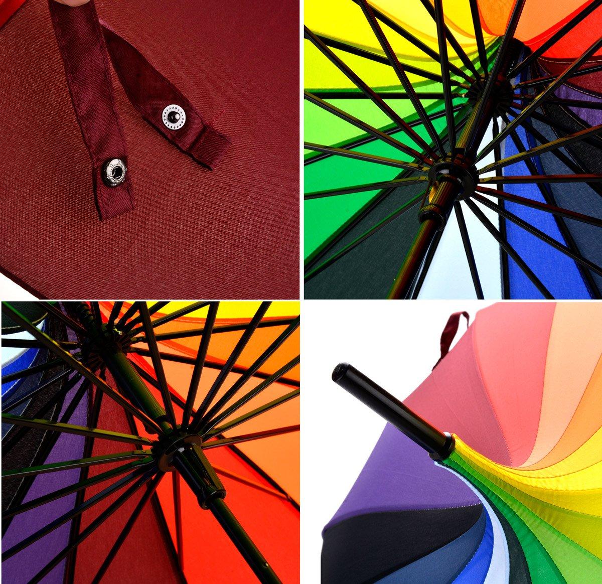 OUTGEEK Rainbow Umbrella Pagoda Long Handle Vintage Windproof Umbrella Parasol 6