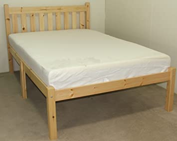 Kingsize bed with memory foam mattress - HEAVY DUTY - wooden pine Bed 5ft - VERY STRONG
