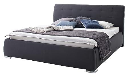 sette notti Polsterbett Bett mit Bettkasten 180x200 mit 7 Zonen-Tonnentaschen-Matratzen H2 und H3, Stoff Bett-Anthrazit, Bravo Art Nr. 1330-98-5T23