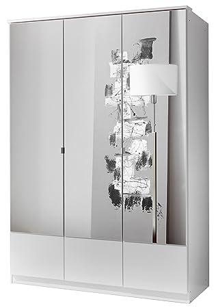 German Imago White 3 Door Mirror Mirrored Door Wardrobe