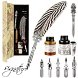 Gcquill Feather Quill Pen Set Dip Pen Antique Feather Pen Writing Quill With 2 Bottle Ink 5 Steel Nibs 1 Envelope Knife Calligraphy Pen With Feather Best Gift For Christmas (Tamaño: Feather)