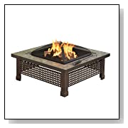 Square34-Inch Fire Pit with Copper Accents