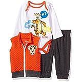 Disney Baby Boys' Tigger 3 Piece Vest, Bodysuit OR T-Shirt, and Pant Set, Mandarin Red,18M (Color: Mandarin Red, Tamaño: 18M)