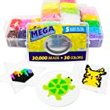 Fuse Perler Beads with 30,000 pcs 30 Colors Art Kit Toy Box | Includes Pegboards, Patterns, Tweezers | Incl 5 Colors That Glow in The Dark | Great Gift for Kids, Boys Our Girls (Color: 30 Colors, Tamaño: 30,000 Pcs)