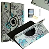 iPad 2 Case, iPad 3 Case, iPad 4 Case, JYtrend (R) Rotating Stand Smart Case Cover Magnetic Auto Wake Up/Sleep for iPad 2/3/4 A1395 A1396 A1397 A1403 A1416 A1430 A1458 A1459 A1460 (Blue Lotus) (Color: Blue Lotus)