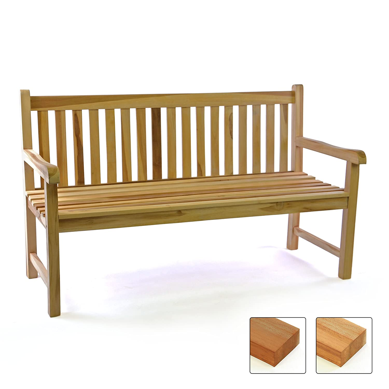 DIVERO 3-Sitzer Bank Gartenbank 150 cm aus hochwertigem massivem Teak-Holz reine Handarbeit Sitzbank für 3-Personen (Teak natur) kaufen