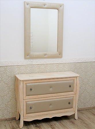 Entrada Madia contemparaneo Shabby Chic marfil espejo envejecido con Frontali Eco Piel
