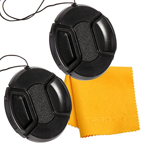 PROST 2 Pcs Center Pinch Lens Cap and Cap Keeper Leash Bundle with Microfiber Cleaning Cloth for Canon Nikon Sony DSLR Camera (52mm)