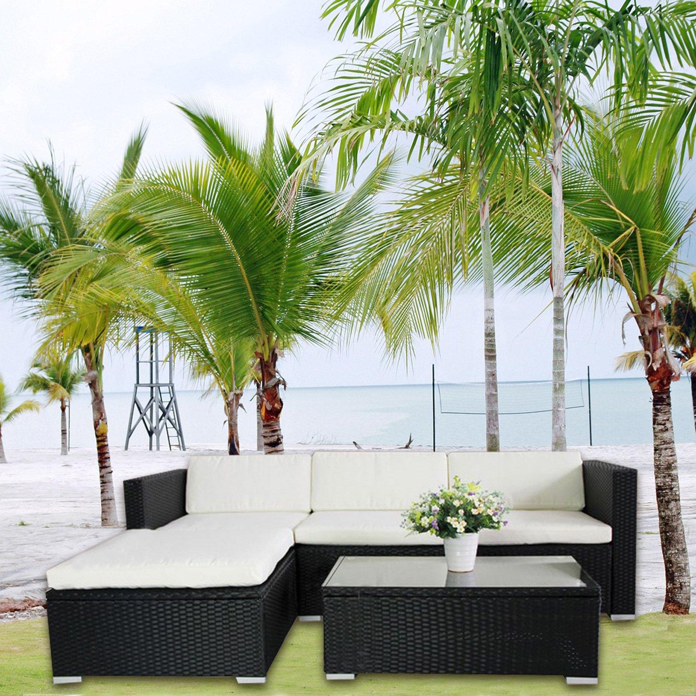 (6034) POLY RATTAN Lounge Schwarz Gartenset Sofa Garnitur Polyrattan Gartenmöbel kaufen