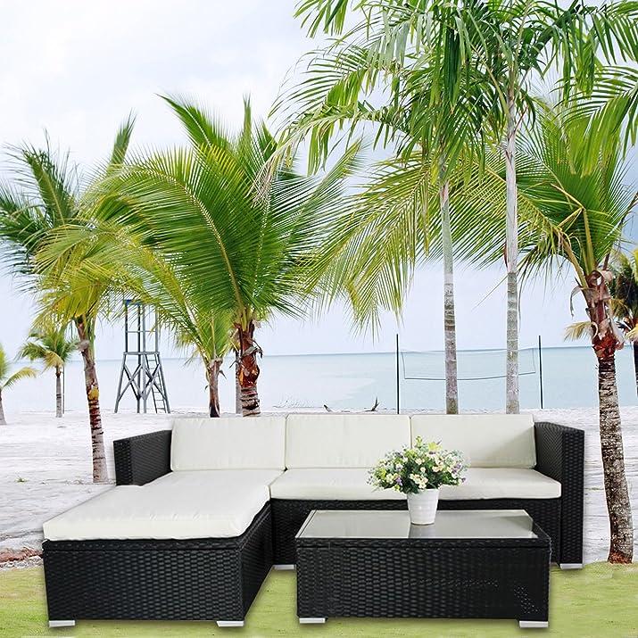 Clic 123 6034 - Set di mobili in rattan sintetico poltrona lounge e divano, arredamento giardino, colore: Nero