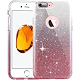 iPhone 6 Plus Case,Inspirationc 3 Layer Hybrid Semi-transparent Soft Bling Crystal Diamond Cover Case for iPhone 6 Plus/6S Plus 5.5 Inch--Silver and Pink (Color: Silver and Pink, Tamaño: iPhone 6 Plus / 6s Plus)