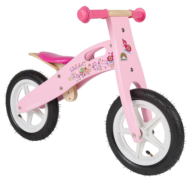 BIKESTAR® Premium Kinderlaufrad für modebewusste Prinzessinnen ab 3 Jahren ★ 12er Natur Holz Edition ★ Flamingo Pink günstig