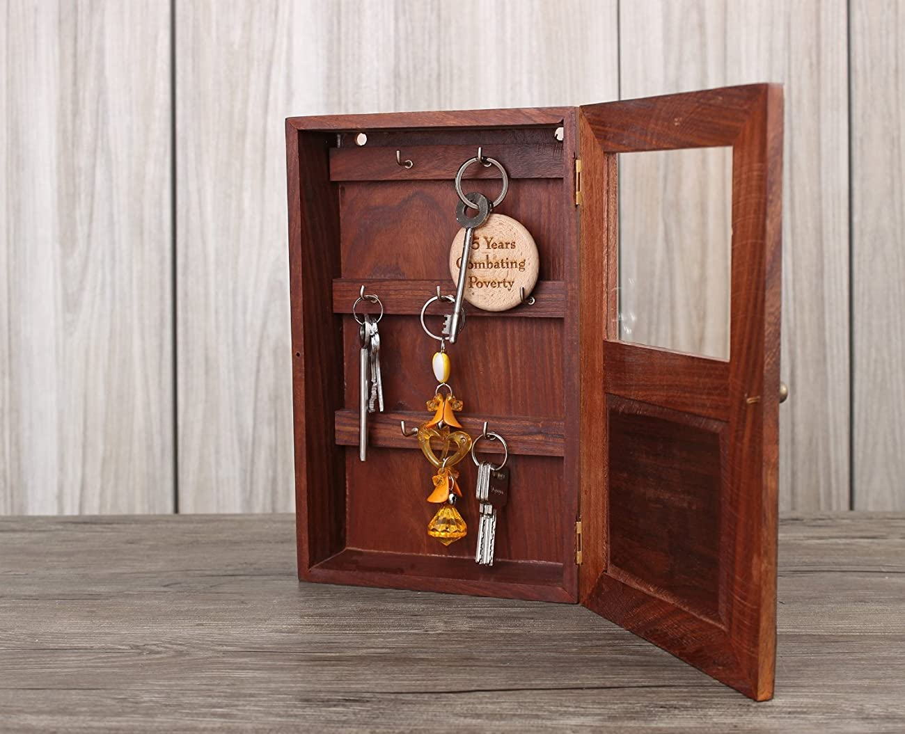 Handmade Decorative Wooden Wall Mounted Key Cabinet with Glass Panel Door & Elephant Carvings 2