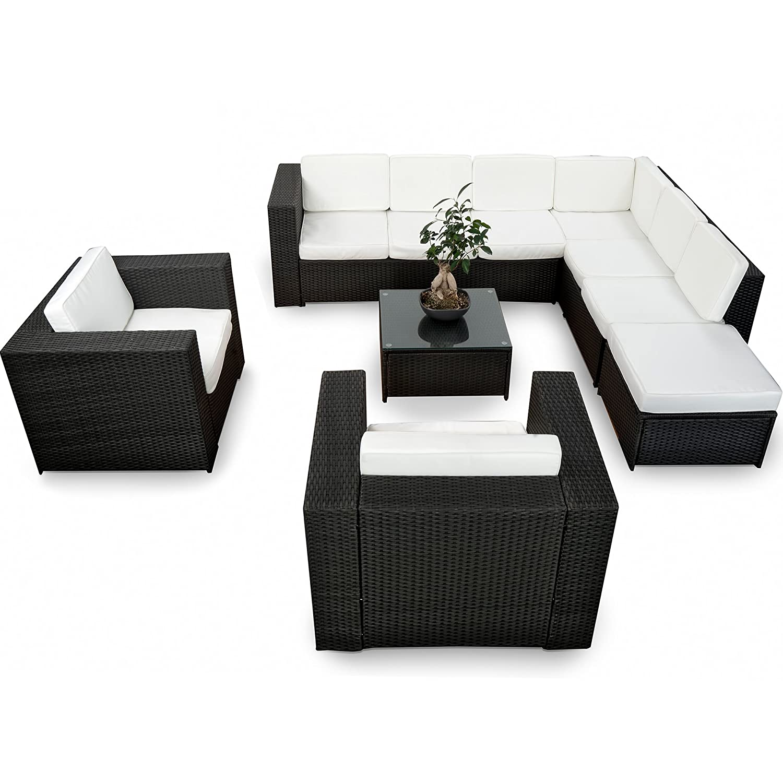 XINRO XXXL Polyrattan 25tlg. Lounge Set günstig + 2x (1er) Lounge Sessel - Gartenmöbel Lounge Möbel Sitzgruppe Garnitur - In/Outdoor - mit Kissen - handgeflochten - schwarz