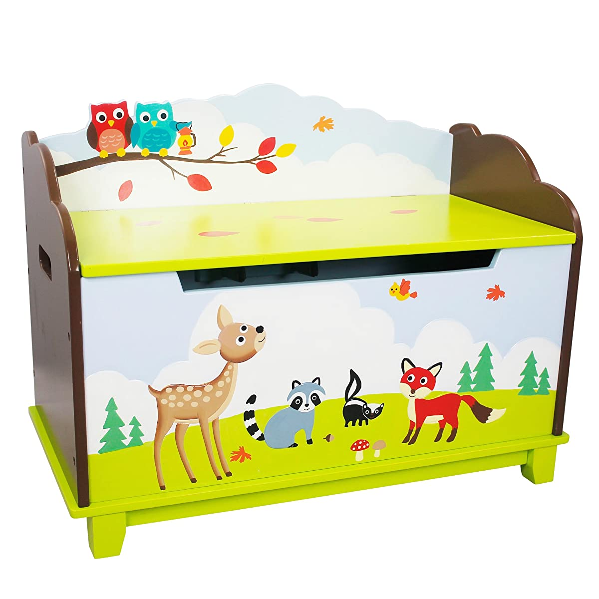 Enchanted Woodland Thematic Kids Wooden Toy Chest with Safety Hinges | Imagination Inspiring Hand Crafted
