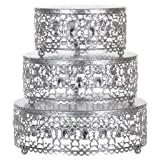 3-Piece Metal Cake Stand Risers Set with Crystal Rhinestones (Silver) (Color: Silver, Tamaño: 8