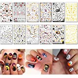 TailaiMei 1500 Pcs Halloween Nail Decals Stickers, 12 Sheets Self-adhesive DIY Nail Art Tips Stencil for Halloween Party, Include Pumpkin/Bat/Ghost/Witch etc (Color: Halloween, 12 Sheets, Tamaño: Halloween, 12 Sheets)