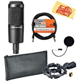 Audio-Technica AT2035 Cardioid Condenser Microphone Bundle with Pop Filter, XLR Cable, and Austin Bazaar Polishing Cloth (Color: Bundle w/ Pop Filter, Tamaño: AT2035)
