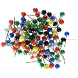 U Brands Map Push Pins, Plastic Head, Steel Point, Assorted Colors, 100-Count (Tamaño: 1 Pack)
