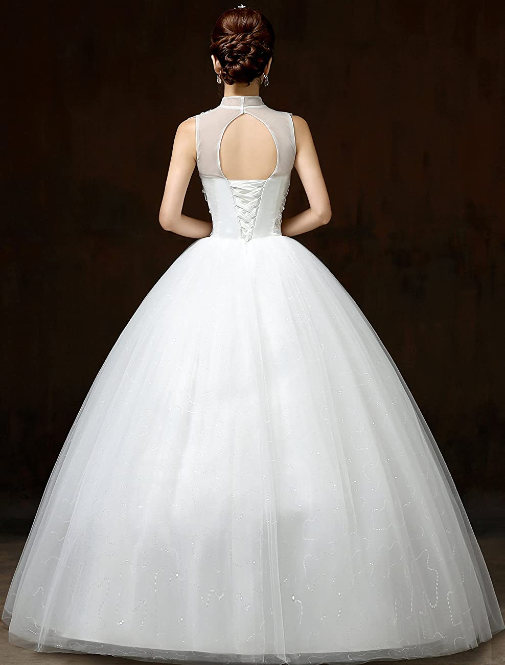 Clover Bridal Vintage High Collar Pearl Wedding Dress for Bride White Under 100 5