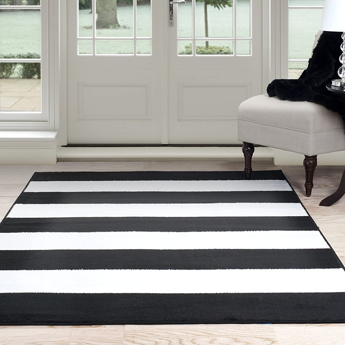 "Lavish Home Breton Stripe Area Rug, 5 by 77"", Black/White"