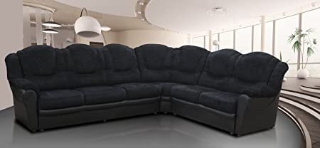Texas 7 Seater Sofa (Fabric, chenille black)