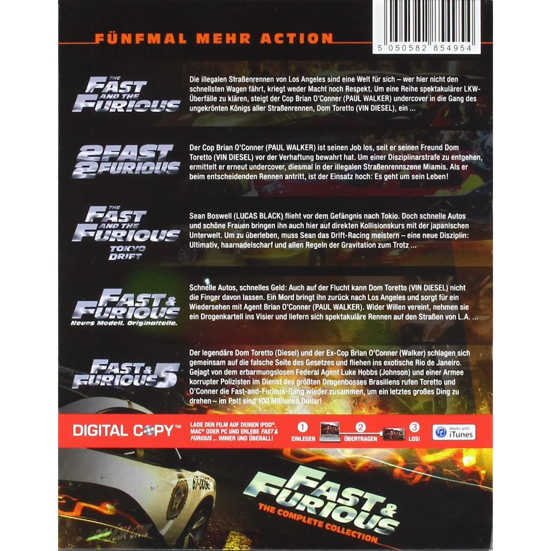 fast furious 1 5 the collection blu ray vin diesel. Black Bedroom Furniture Sets. Home Design Ideas
