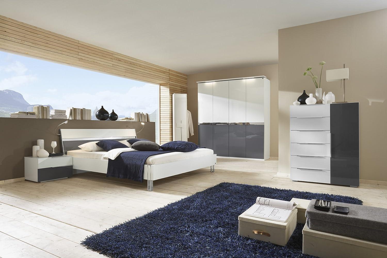 Schlafzimmer mit Bett 180 x 200 cm alpinweiss/ Pearlglanz Softwhite grey