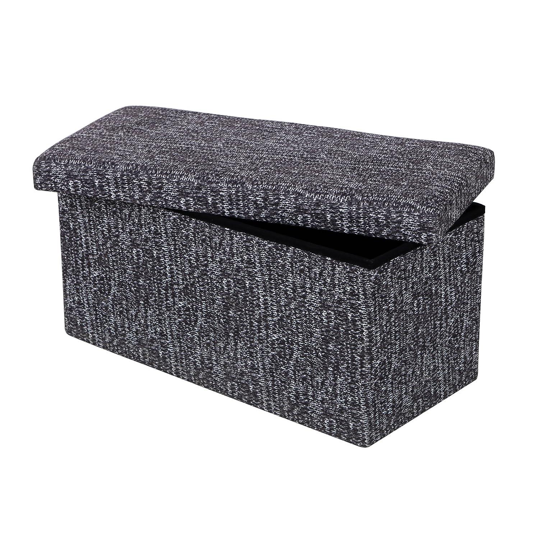 Songmics Faltbarer Sitzhocker Sitzwürfel Aufbewahrungsbox Grau Baumwolle 76 x 38 x 38 cm LSF90C günstig bestellen