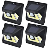 SOLAR MOTION SENSOR COB LED LIGHT By Mighty Power, Ultra Bright 350 Lumens, Perfect For Illuminating Patios, Outdoor Walkways and Pathways, Entries And Exits, Dark Alleys, RVs, Garages, Black (4 Pack) (Color: Black, Tamaño: 4 Pack)