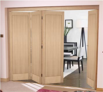 "Green Tree Doors Oak Shaker 1 Panel Bifold System (686mm (27"") - 2 Doors)"