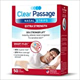 Clear Passage Nasal Strips Extra Strength, Tan, 50 ct | Works Instantly to Improve Sleep, Reduce Snoring, Relieve Nasal Congestion Due to Colds & Allergies, Tan (Color: Tan, Tamaño: Extra Strength)