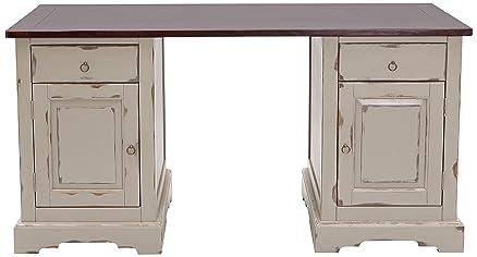 """Sit-Möbel 9707-97 scrivania """"SPA"""", in legno di Acacia massiccio, colore tortora, 2 porte in legno, 2 cassetti, 150 x 68 x 75 cm"""
