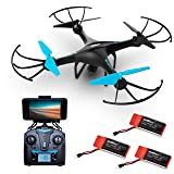 "Force1 Drone with Camera Live Video - ""U45W Blue Jay"" WiFi FPV Drones with Camera for Adults and Kids + 3 RC Drone Batteries and Camera Drone Power Bank"